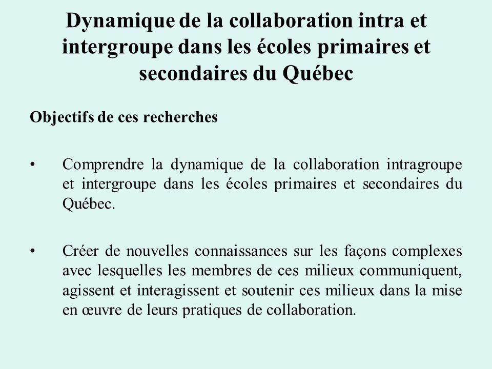 Dynamique de la collaboration intra et intergroupe dans les écoles primaires et secondaires du Québec