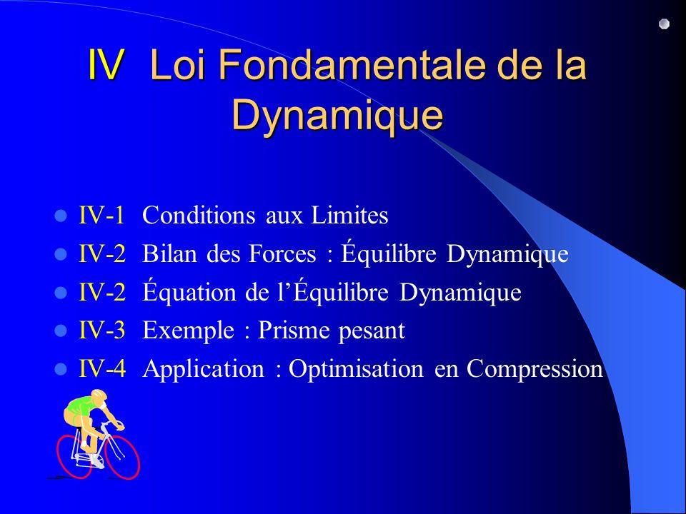 IV Loi Fondamentale de la Dynamique