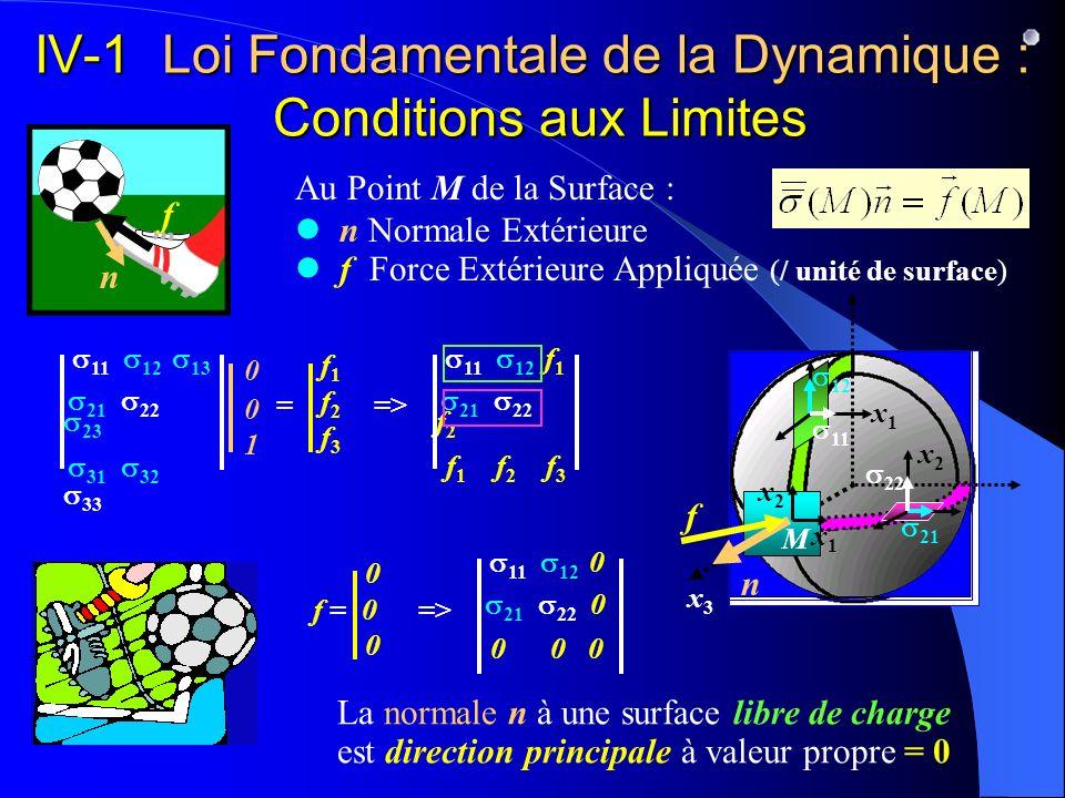 IV-1 Loi Fondamentale de la Dynamique : Conditions aux Limites