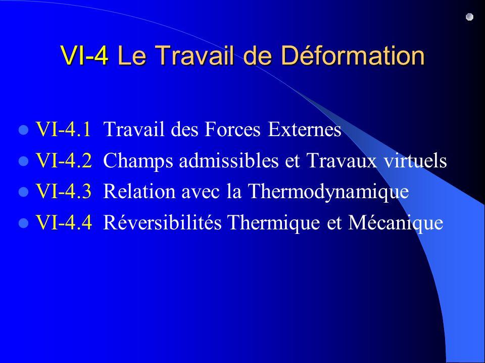 VI-4 Le Travail de Déformation