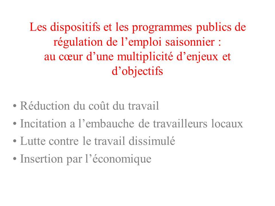 Les dispositifs et les programmes publics de régulation de l'emploi saisonnier : au cœur d'une multiplicité d'enjeux et d'objectifs