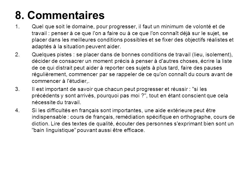 8. Commentaires