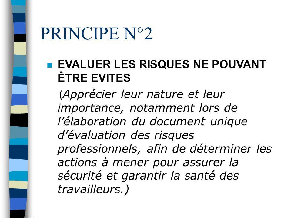 PRINCIPE N°2 EVALUER LES RISQUES NE POUVANT ÊTRE EVITES