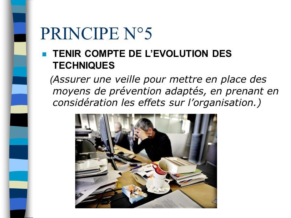 PRINCIPE N°5 TENIR COMPTE DE L'EVOLUTION DES TECHNIQUES