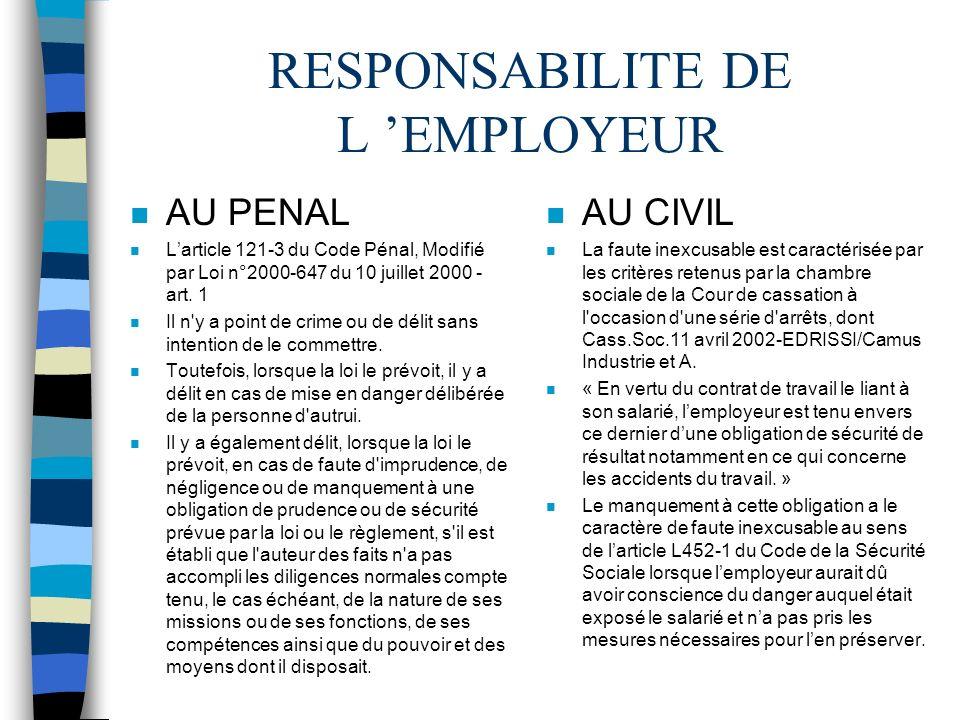 RESPONSABILITE DE L 'EMPLOYEUR