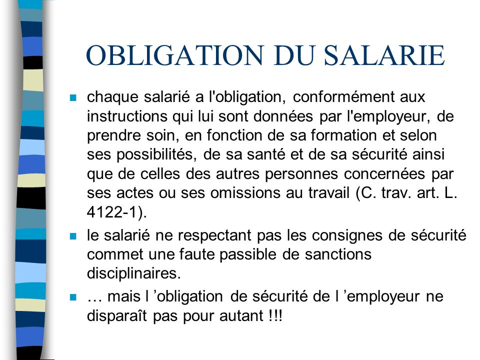 OBLIGATION DU SALARIE