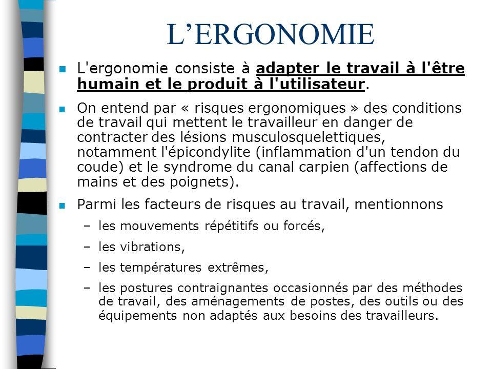 L'ERGONOMIE L ergonomie consiste à adapter le travail à l être humain et le produit à l utilisateur.