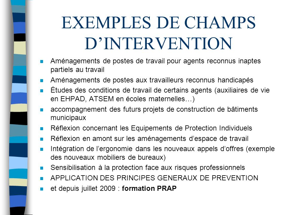 EXEMPLES DE CHAMPS D'INTERVENTION