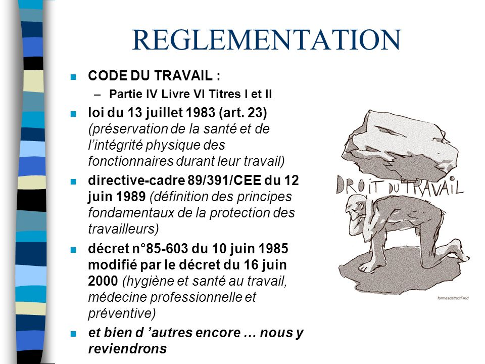 REGLEMENTATION CODE DU TRAVAIL :