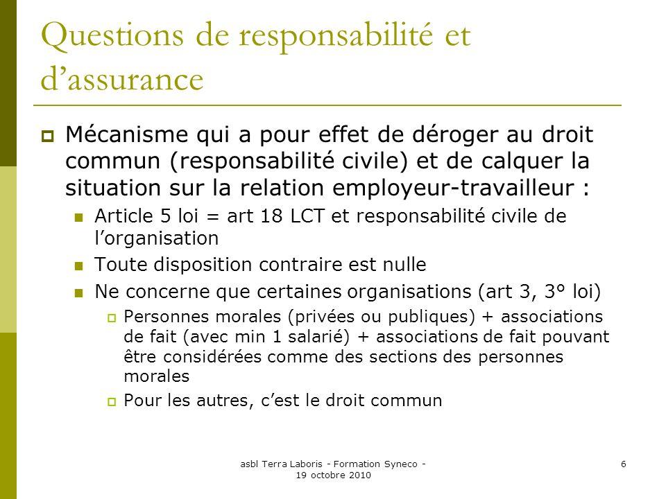 Questions de responsabilité et d'assurance