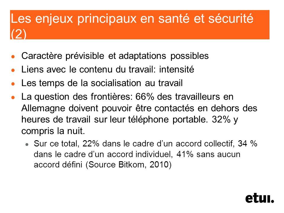 Les enjeux principaux en santé et sécurité (2)