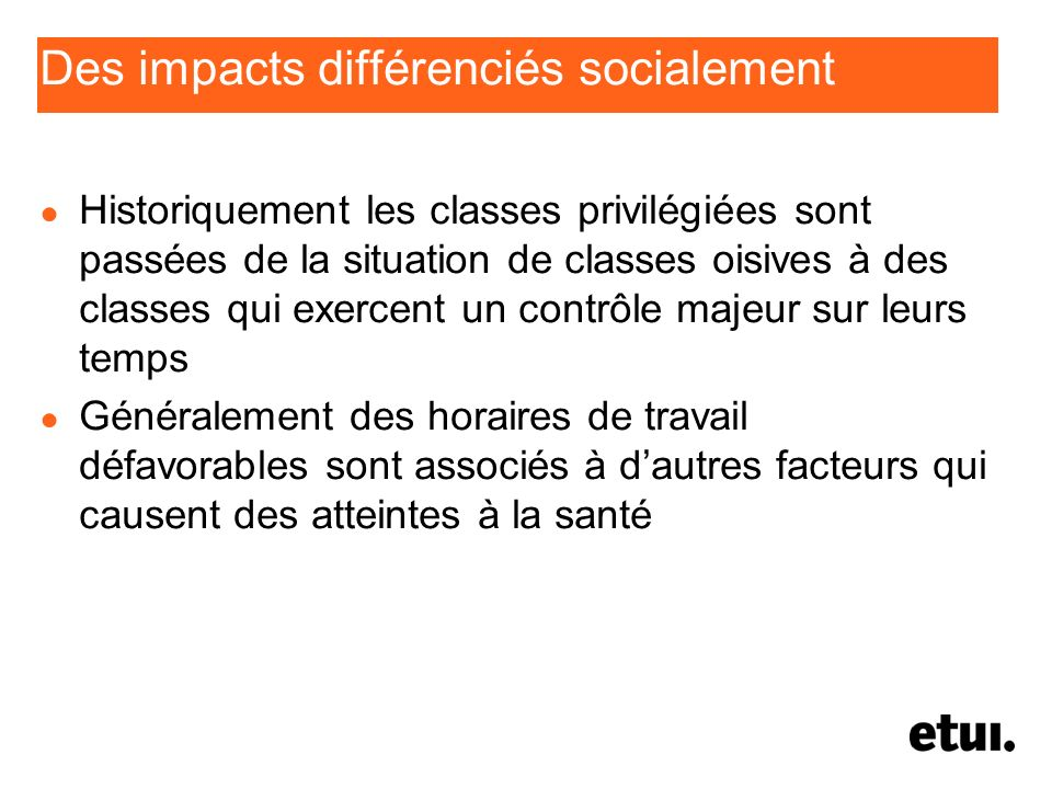 Des impacts différenciés socialement