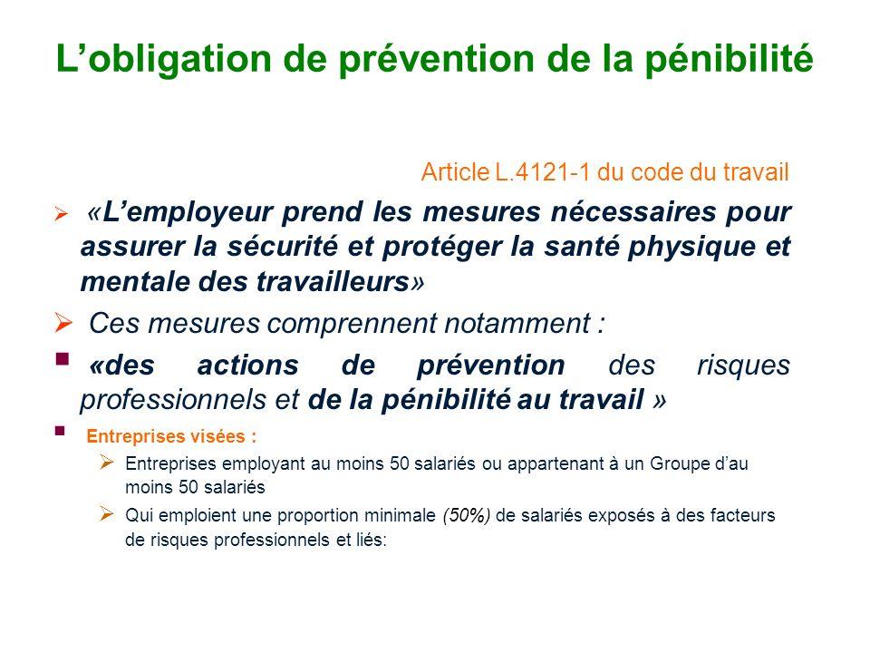 L'obligation de prévention de la pénibilité