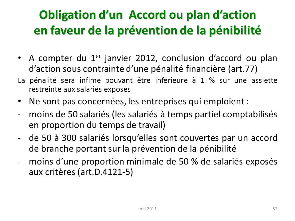 Obligation d'un Accord ou plan d'action en faveur de la prévention de la pénibilité