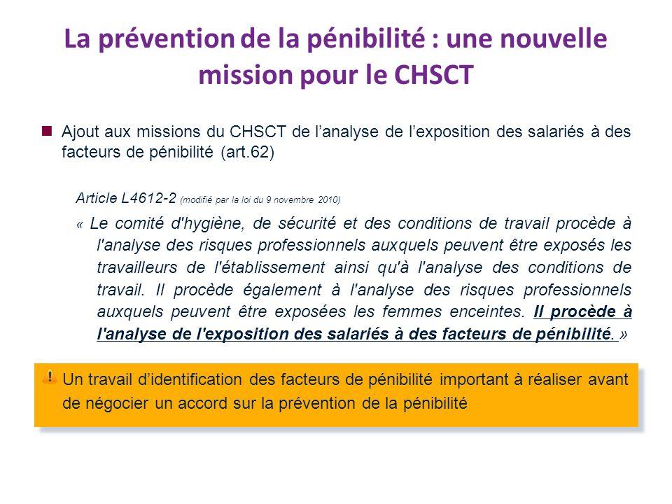La prévention de la pénibilité : une nouvelle mission pour le CHSCT