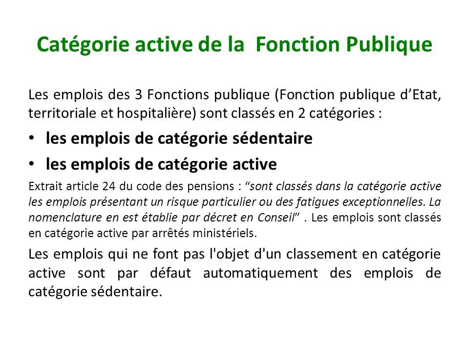 Catégorie active de la Fonction Publique