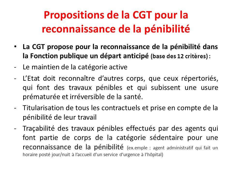 Propositions de la CGT pour la reconnaissance de la pénibilité