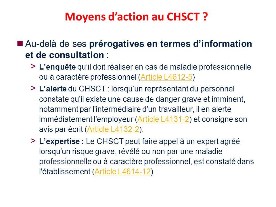 Moyens d'action au CHSCT