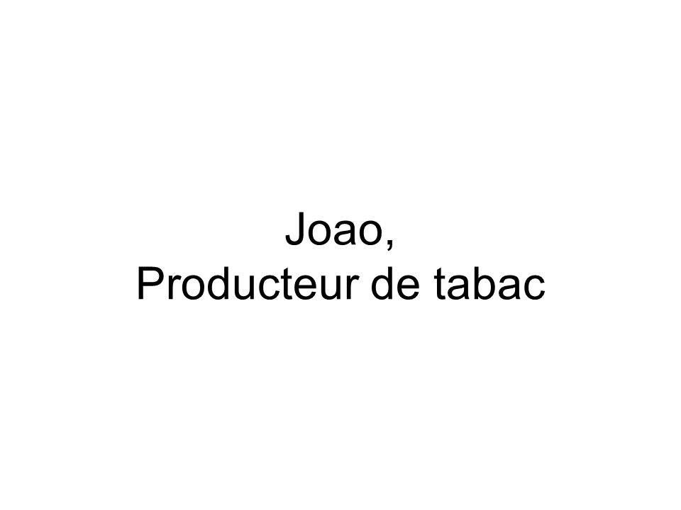 Joao, Producteur de tabac