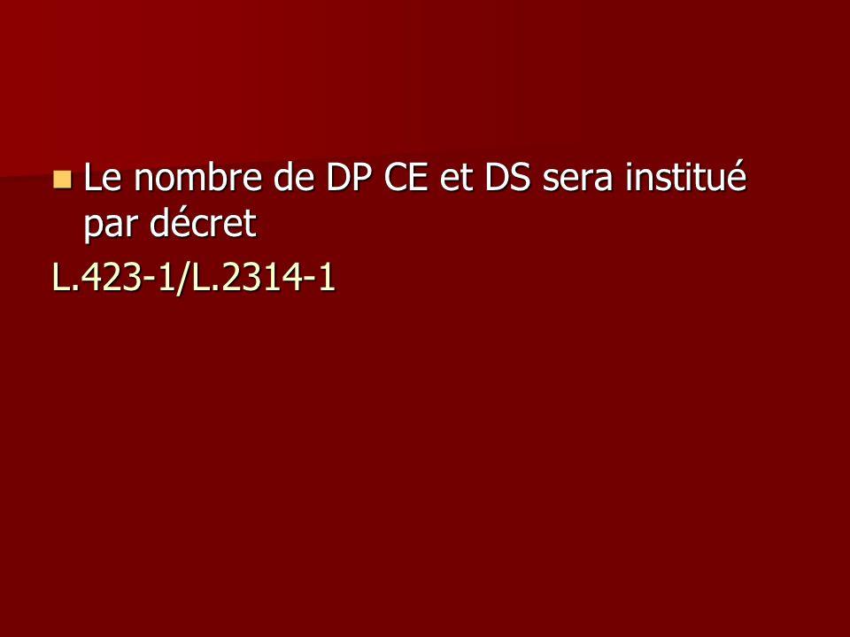Le nombre de DP CE et DS sera institué par décret