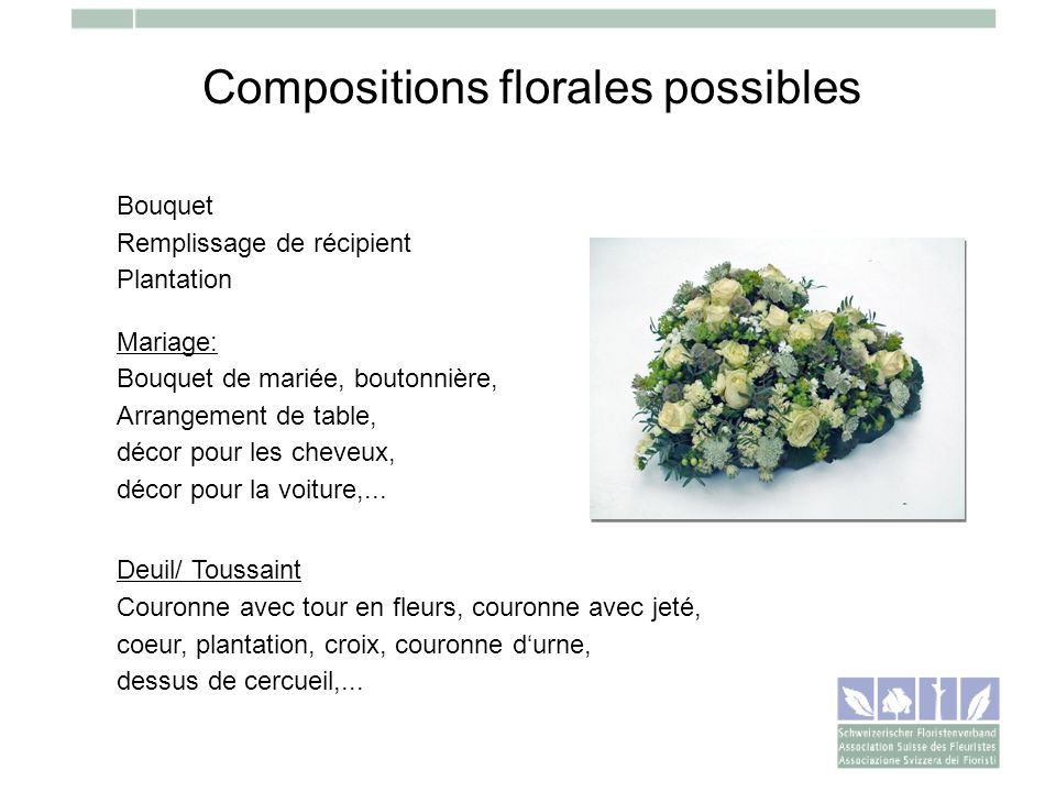 Compositions florales possibles