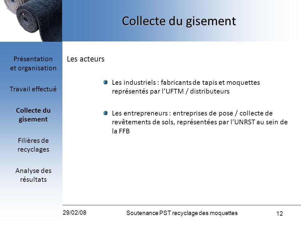 Collecte du gisement Les acteurs Présentation et organisation