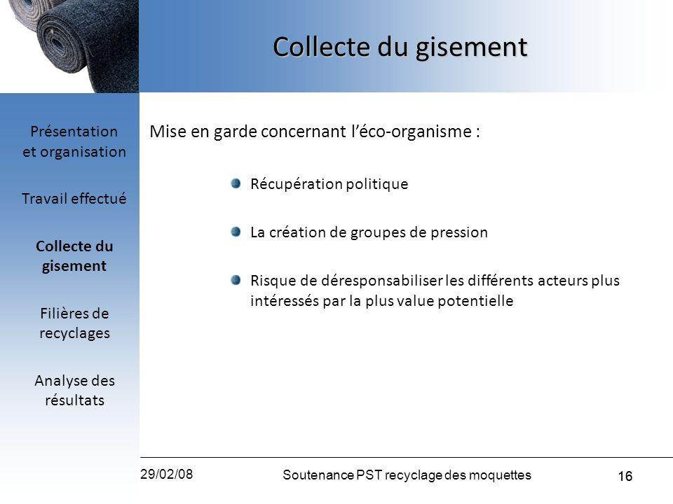 Collecte du gisement Mise en garde concernant l'éco-organisme :