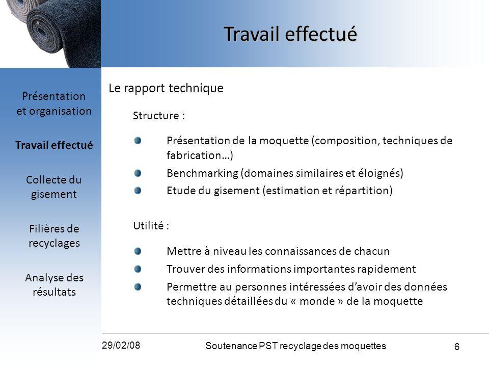 Travail effectué Le rapport technique Présentation et organisation