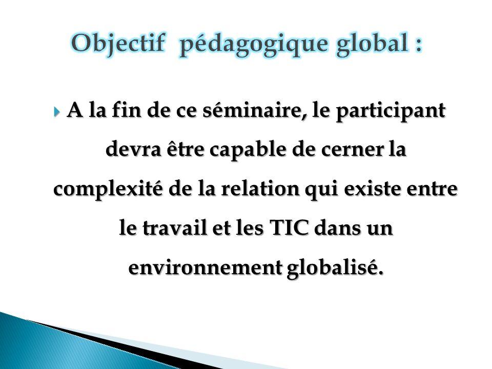 Objectif pédagogique global :