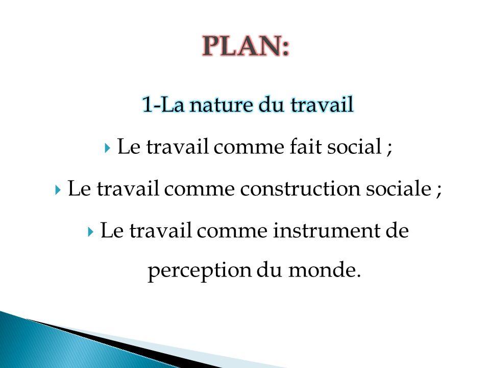 PLAN: 1-La nature du travail Le travail comme fait social ;