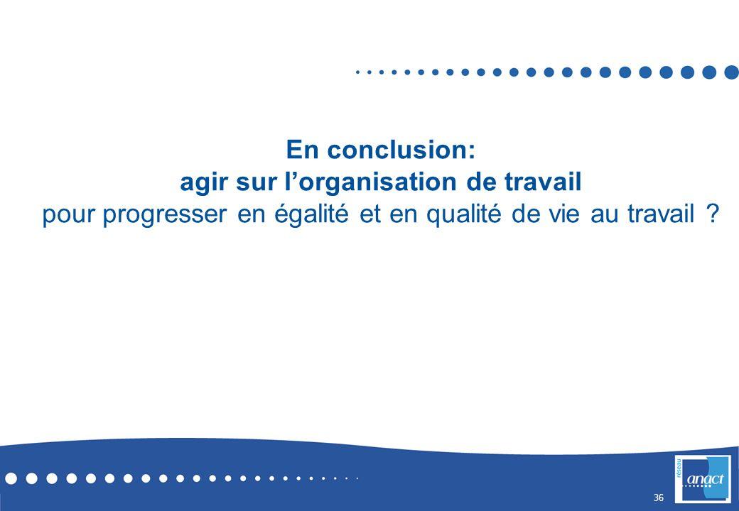 En conclusion: agir sur l'organisation de travail pour progresser en égalité et en qualité de vie au travail