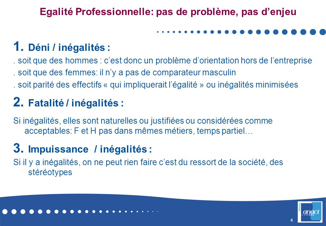Egalité Professionnelle: pas de problème, pas d'enjeu