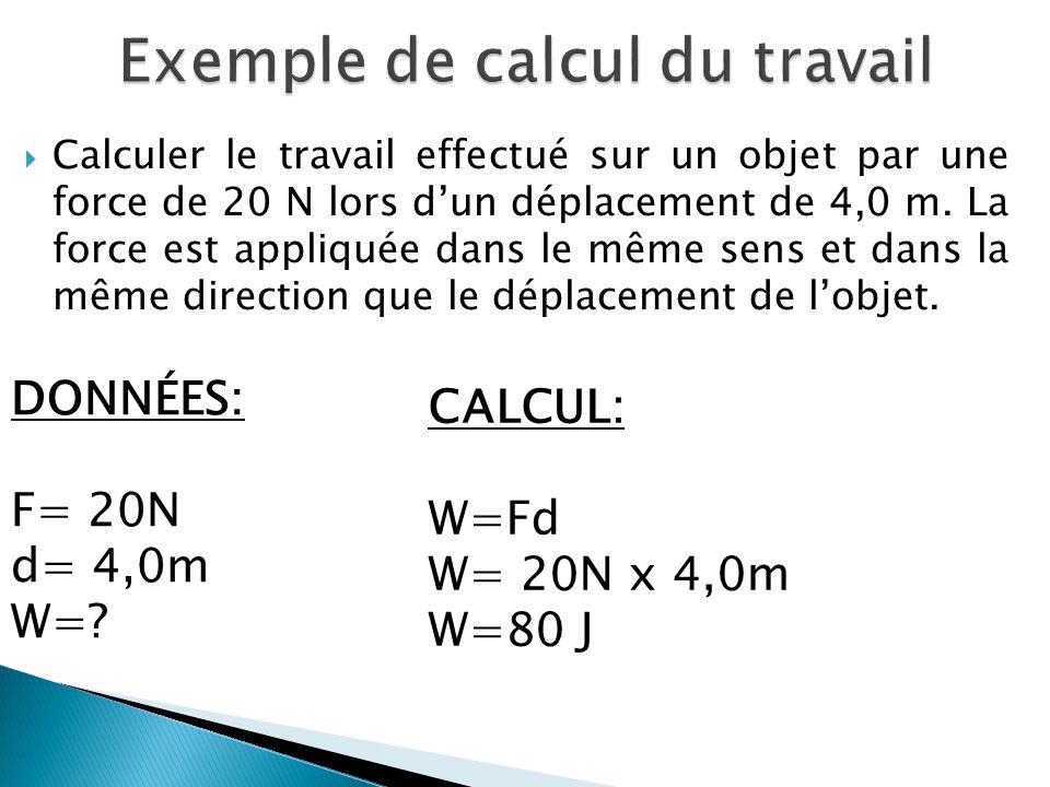 Exemple de calcul du travail