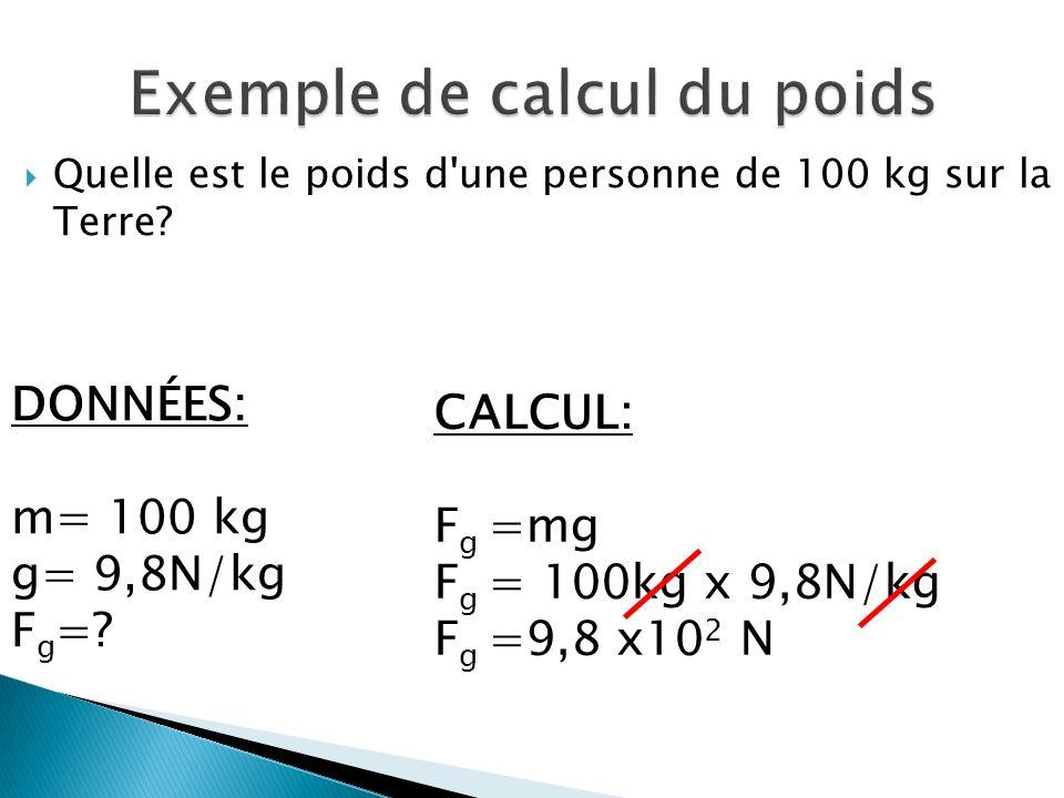 Exemple de calcul du poids