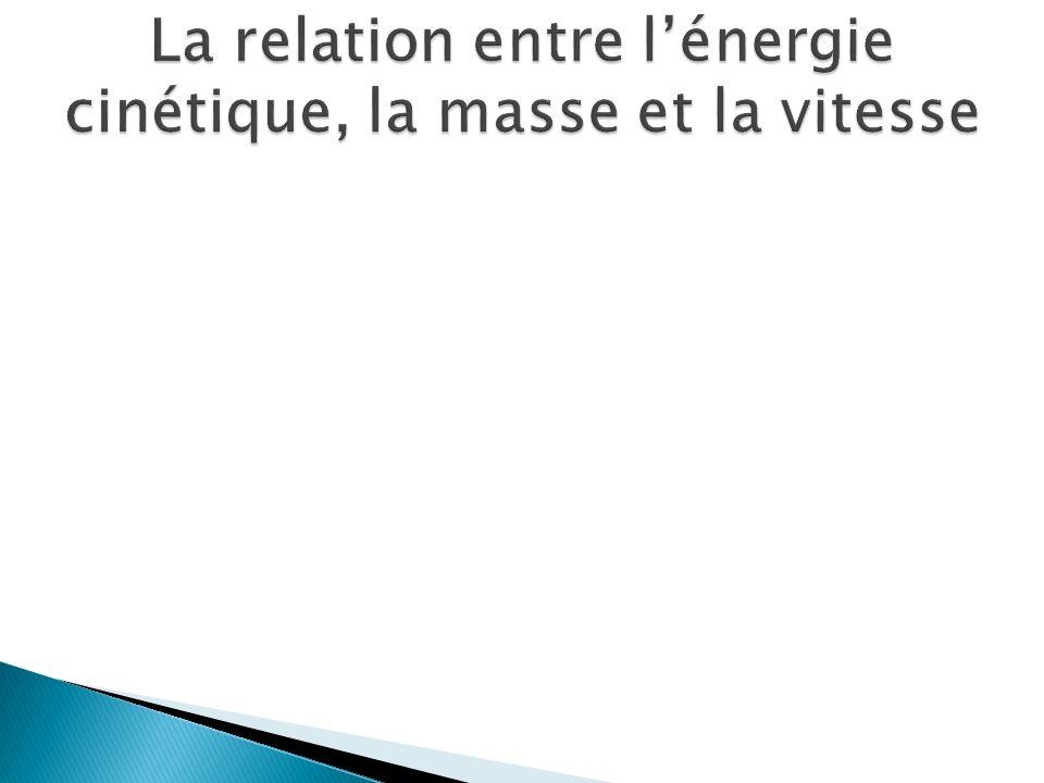 La relation entre l'énergie cinétique, la masse et la vitesse