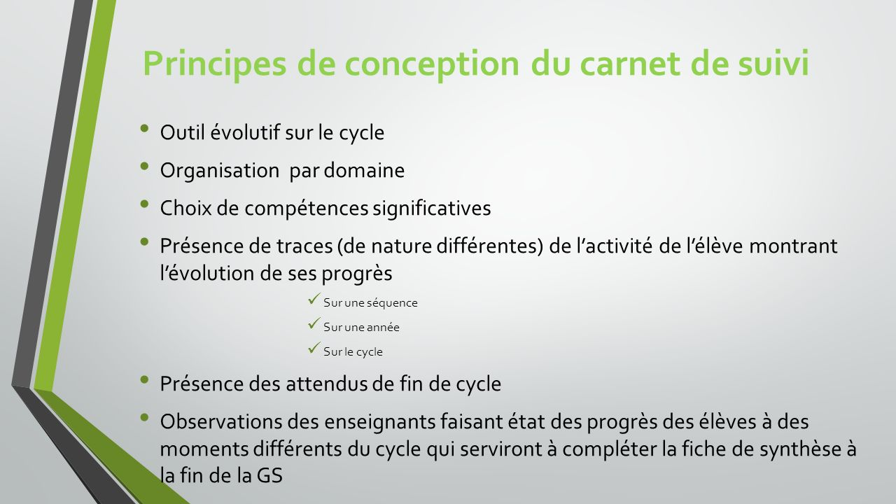 Principes de conception du carnet de suivi