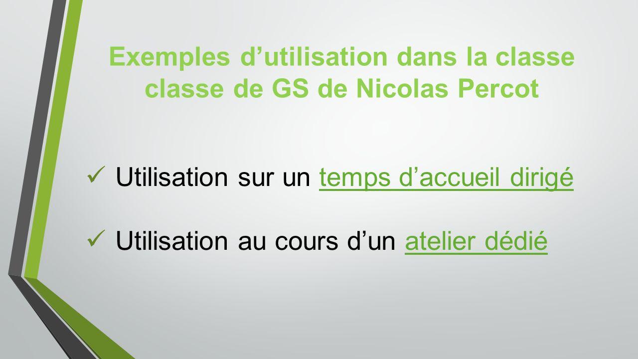 Exemples d'utilisation dans la classe classe de GS de Nicolas Percot