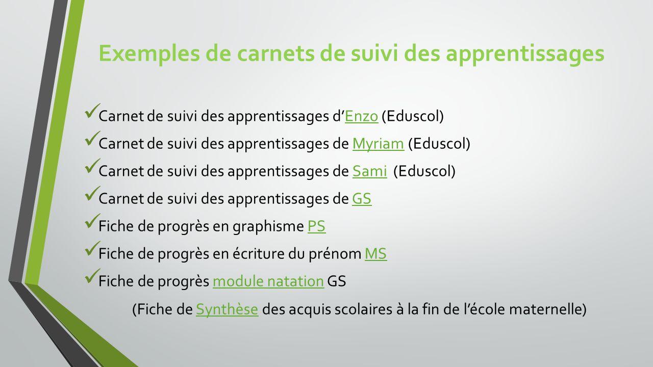 Exemples de carnets de suivi des apprentissages