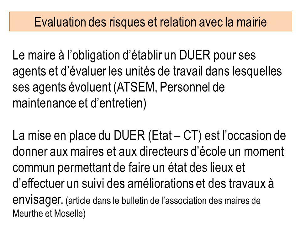 Evaluation des risques et relation avec la mairie