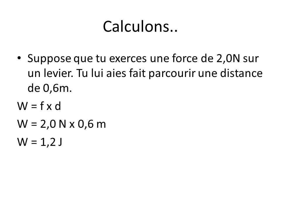 Calculons.. Suppose que tu exerces une force de 2,0N sur un levier. Tu lui aies fait parcourir une distance de 0,6m.