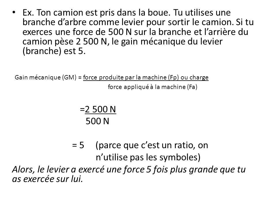 Gain mécanique (GM) = force produite par la machine (Fp) ou charge