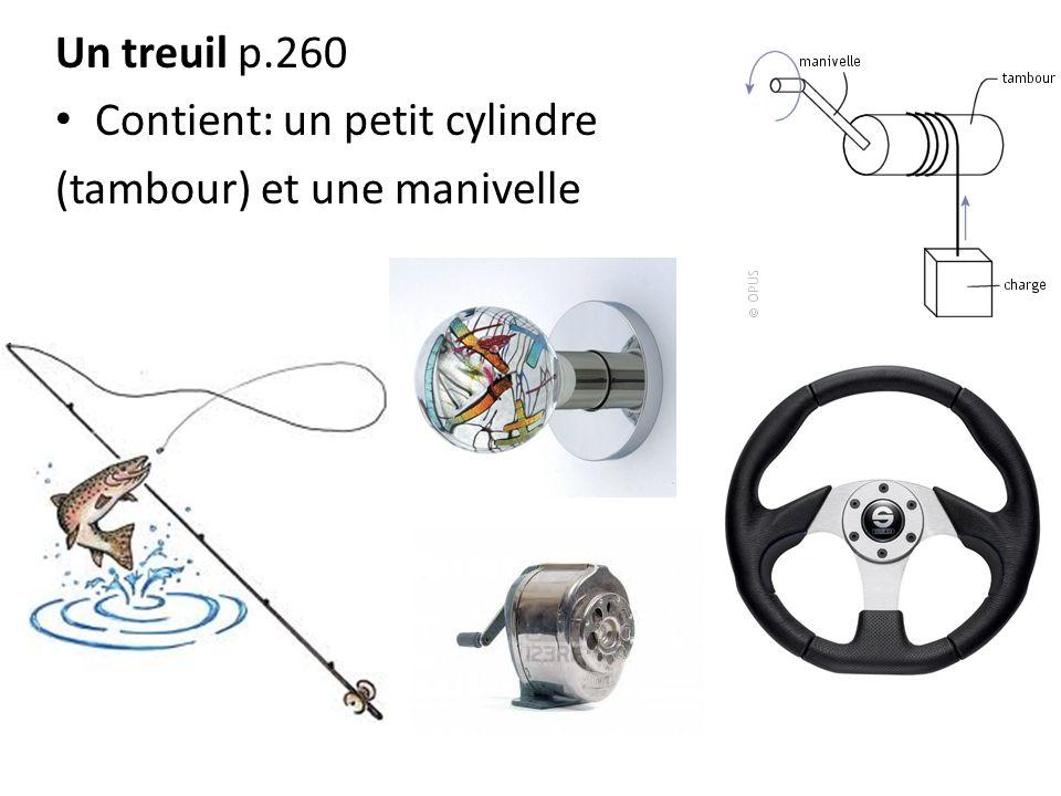 Un treuil p.260 Contient: un petit cylindre (tambour) et une manivelle