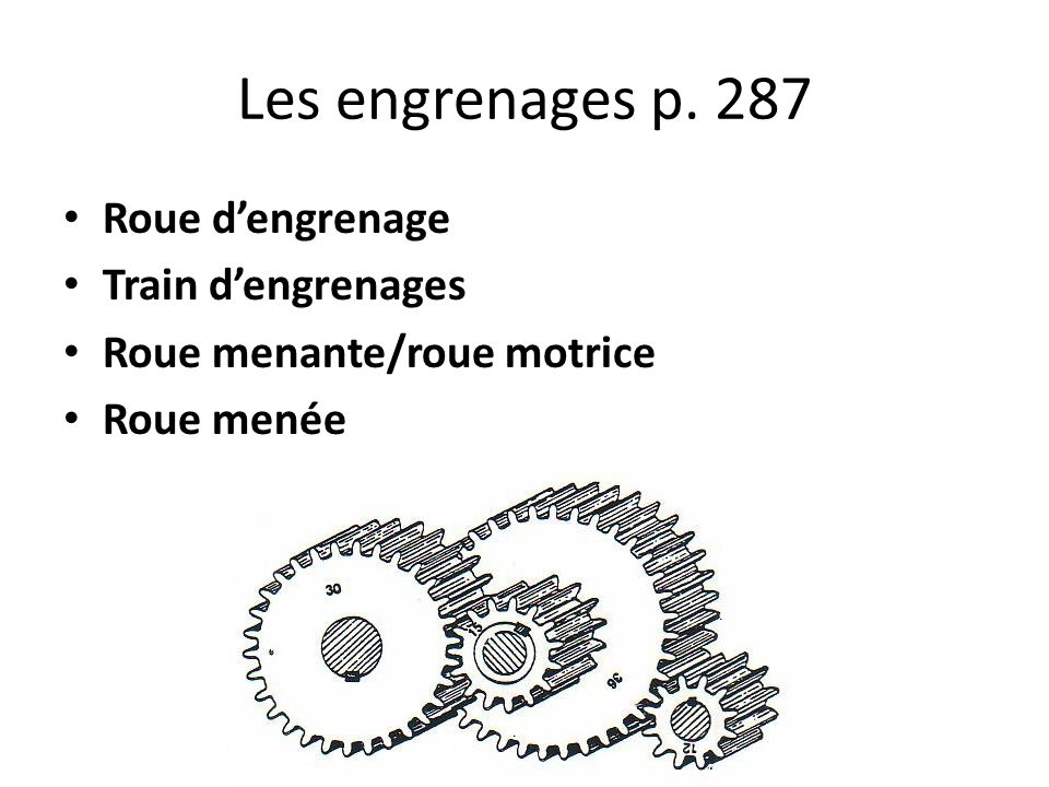Les engrenages p. 287 Roue d'engrenage Train d'engrenages