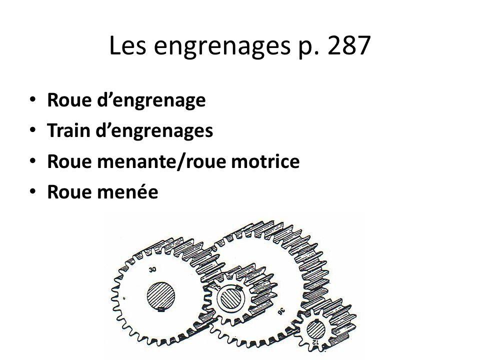 Les engrenages p. 287 Roue d'engrenage Train d'engrenages