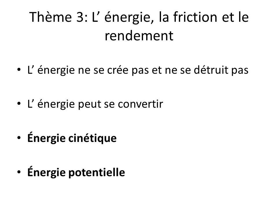 Thème 3: L' énergie, la friction et le rendement