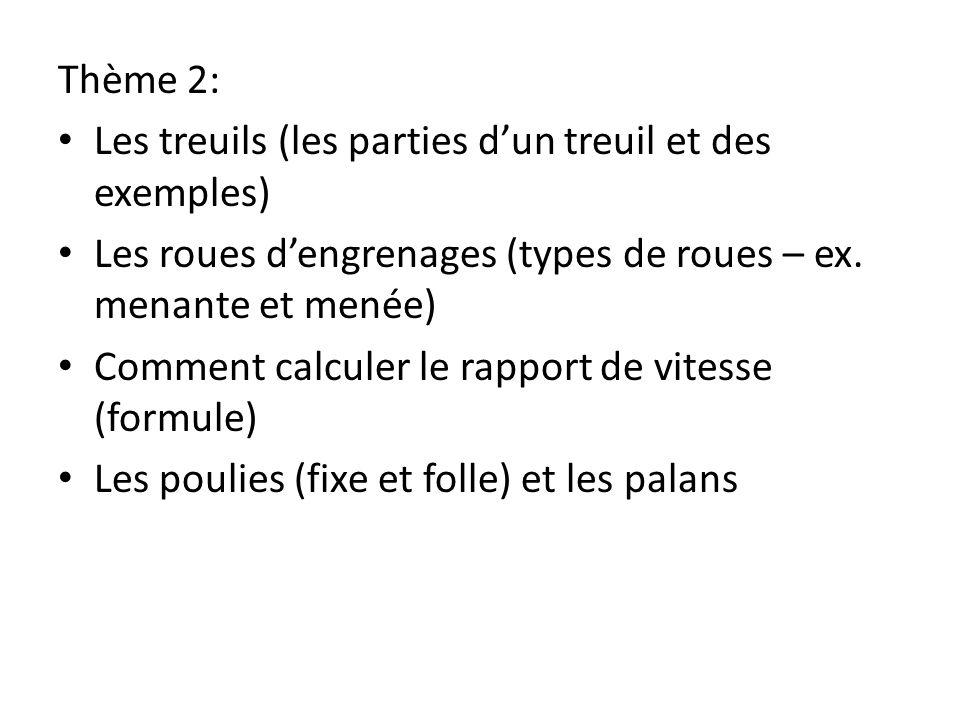 Thème 2: Les treuils (les parties d'un treuil et des exemples) Les roues d'engrenages (types de roues – ex. menante et menée)