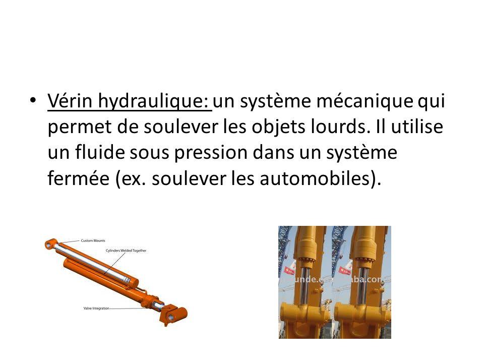 Vérin hydraulique: un système mécanique qui permet de soulever les objets lourds.