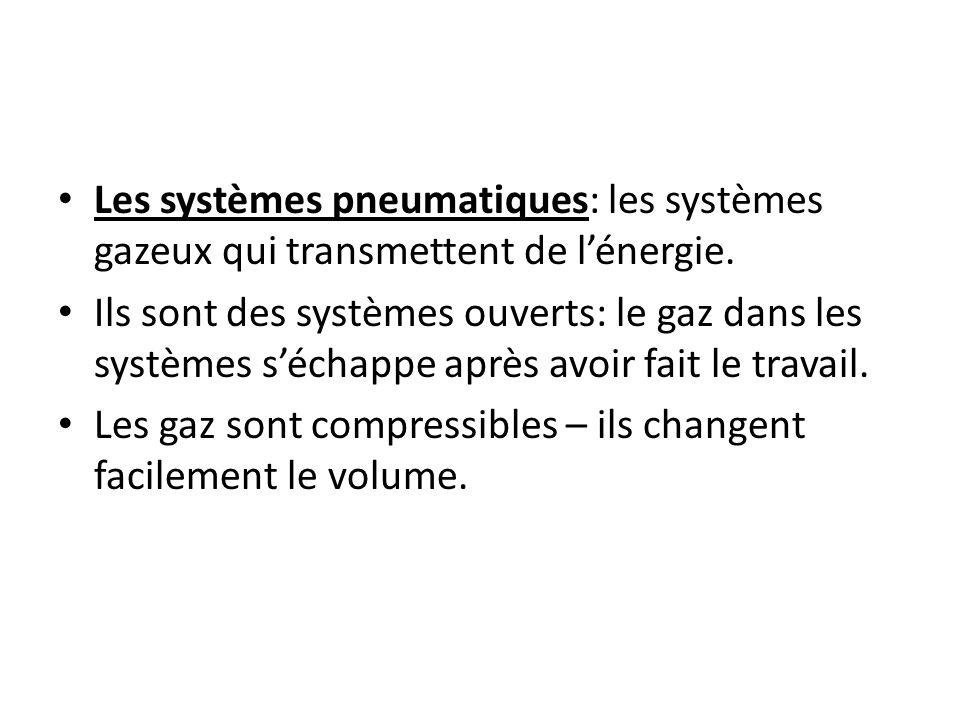 Les systèmes pneumatiques: les systèmes gazeux qui transmettent de l'énergie.