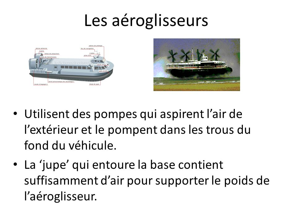 Les aéroglisseurs Utilisent des pompes qui aspirent l'air de l'extérieur et le pompent dans les trous du fond du véhicule.