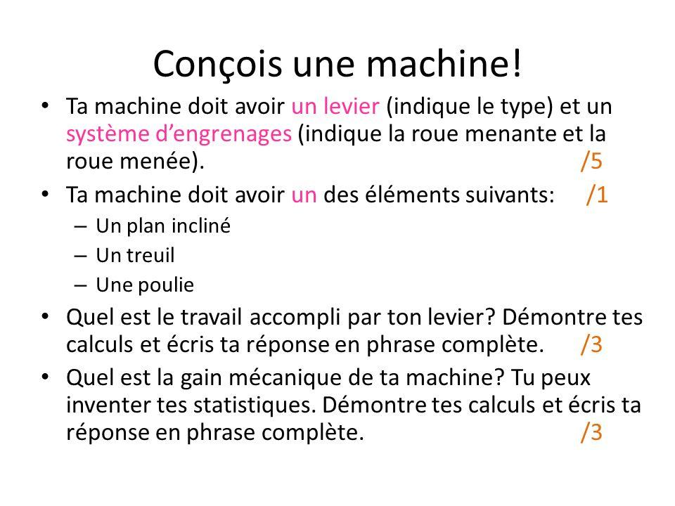 Conçois une machine!
